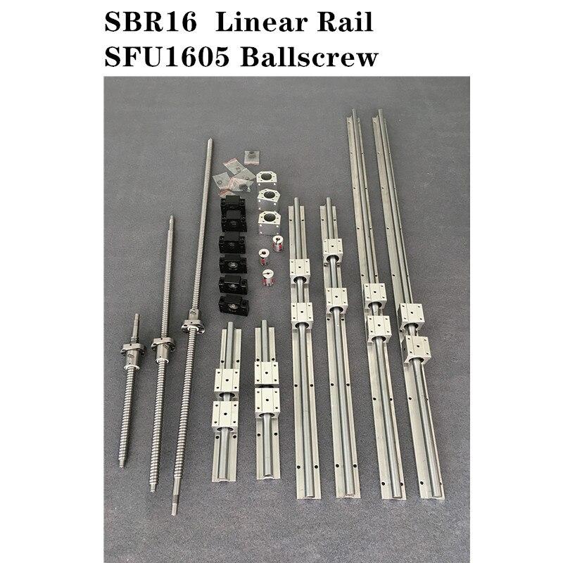 6 jeu de Rail de guidage linéaire SBR16-400/900/1500mm + 3 jeu de vis à billes SFU1605-400/900/1500mm + 3 pièces de CNC BK/BF12