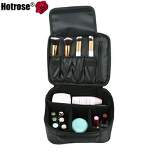 Hotrose Portable Travel Makeup Bag Oxford Fabric Cosmetic Train Case Black Adjustable Padded Dividers Waterproof with Hand Strap