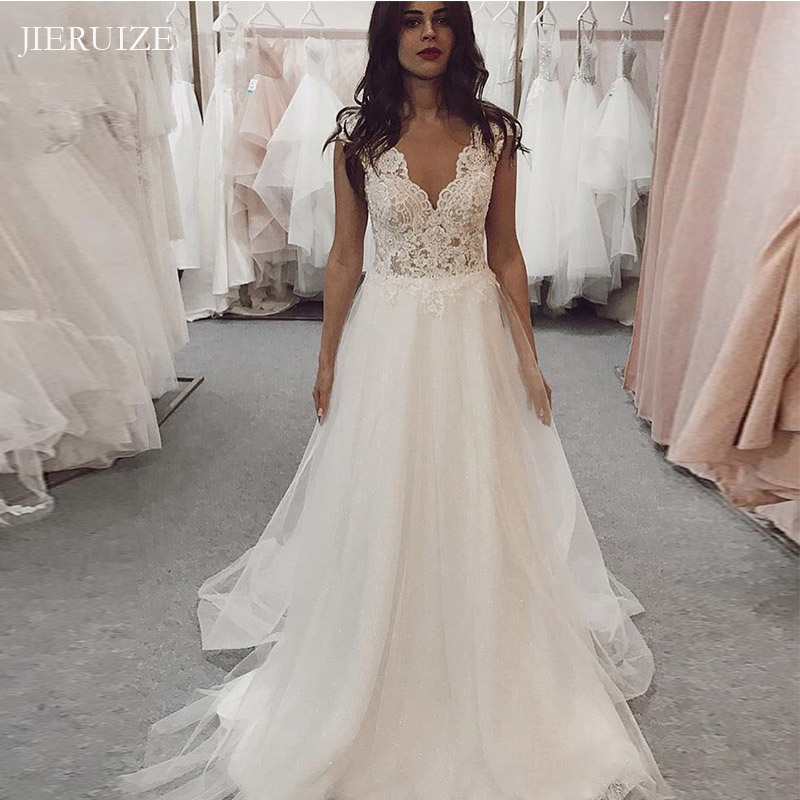 JIERUIZE Lace Appliques Backless Boho Wedding Dresses V-neck Summer Bride Dresses Wedding Gowns