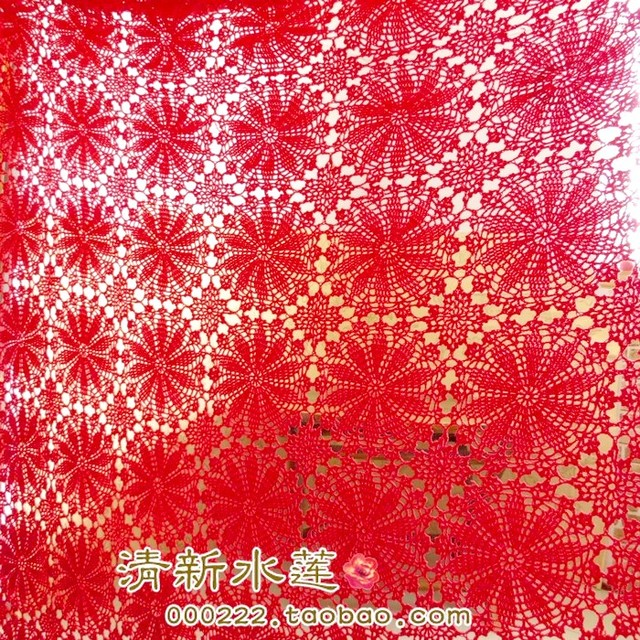 Free Shipping Red Flowers Lace Table Cloth For Wedding Decoration  Tablecloths Bed Cover Sheet Curtain As