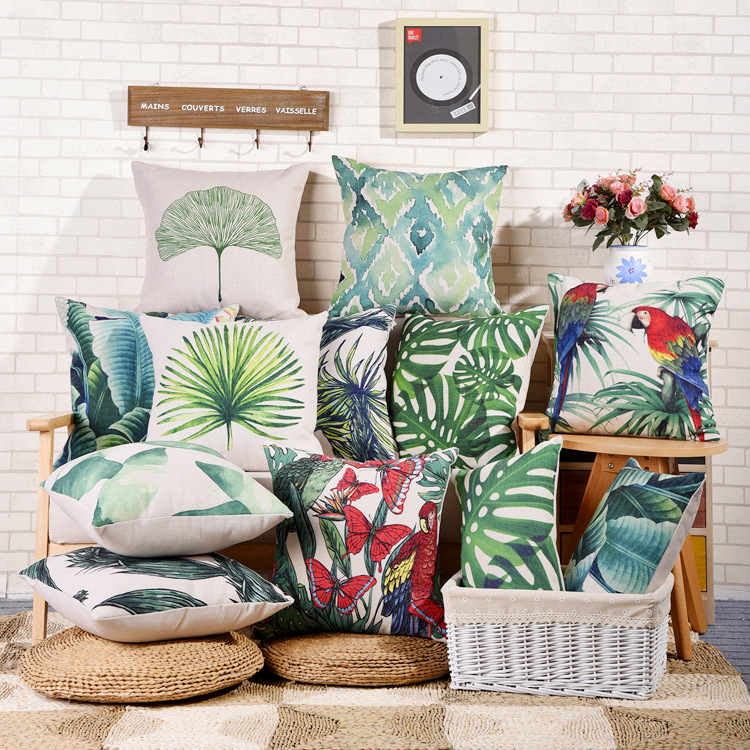 Forest Green Parrot Turtle Banana Leaf Leaves Cotton Decorative Pillow Covers Ikea Sofa Pillows Car