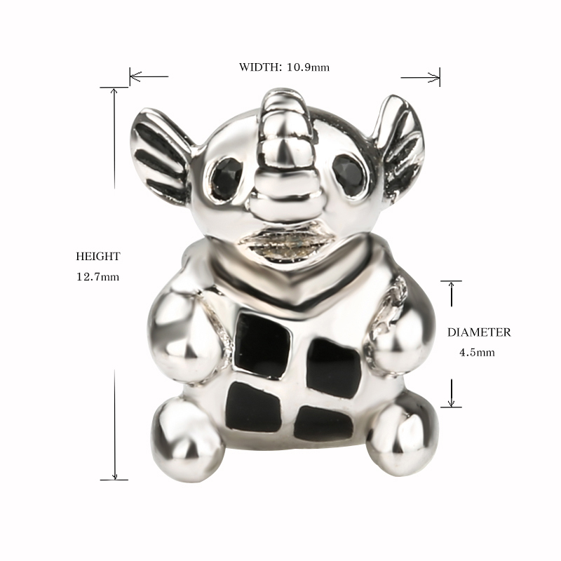 SG 925 sterling silver cute animal elephant charm with black Enamel Charms Fit Charms Bracelet diy Jewelry for women Gifts in Beads from Jewelry Accessories