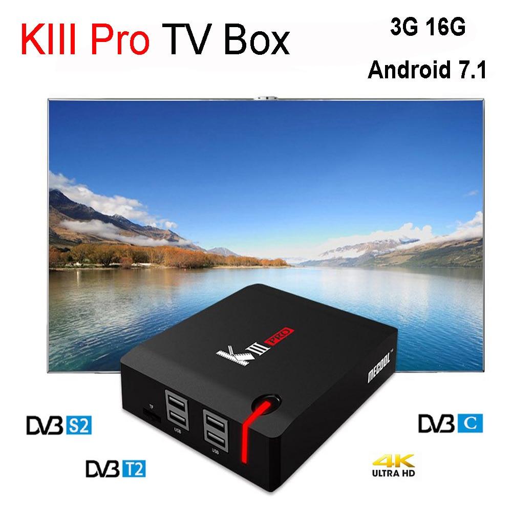 Mecool Android 7.1 TV Box KIII PRO 3GB 16GB DVB-S2 DVB-T2 DVB-C Amlogic S912 Octa Core 4K Support Cccam Newcamd Bisskey IPTV цена