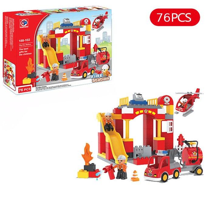Diy Big Size City Fire Department Firemen Building Blocks