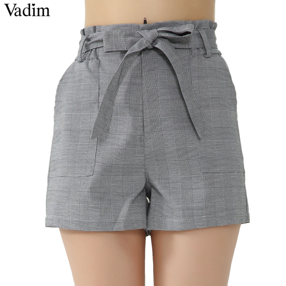 Vinatge bow tie plaid shorts houndstooth pockets elastic waist ladies autumn casual brand shorts pantalones cortos dk400