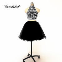 Little Black Dress Tulle Ball Gown Evening Dress 2020 Knee Length Short Two Pieces Prom Dresses Halter Blue Homecoming Dresses