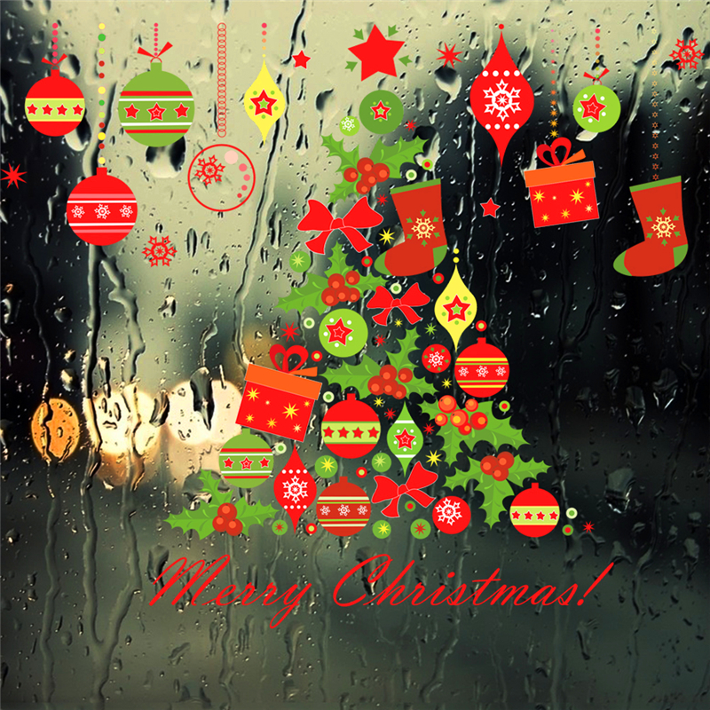 Merry Christmas Tree Bells Wall Stickers Home Decor Stue Store Window - Indretning af hjemmet - Foto 3