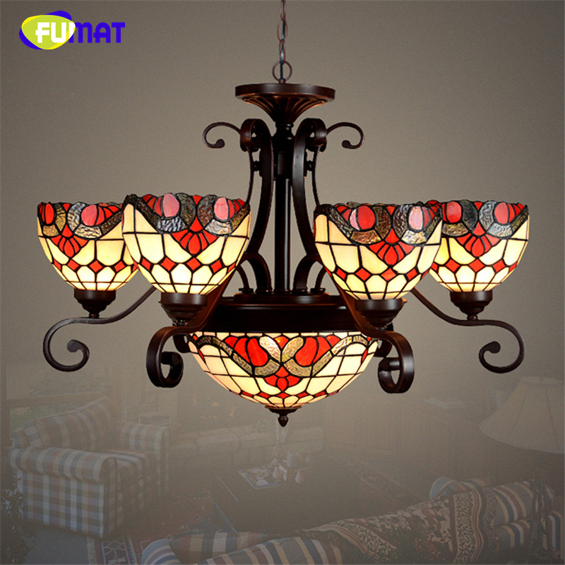 FUMAT Stained Glass Lights A series Baroque Lamp Creative Art Glass Lightings For Living Room Dining Room Kitchen Pendant Lamps