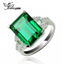 JewelryPalace Luxury 5.9ct Created Emerald Cocktail Ring 925 Sterling Silver Rings for Women Fine Jewelry