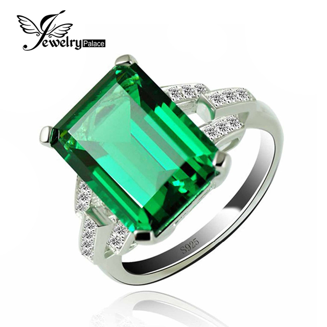 925 Sterling Silver Green Emerald Ring