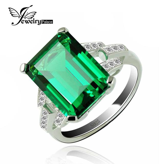 Jewelrypalace lujo 5.9ct nano ruso esmeralda verde creado cóctel anillo de plata de ley 925 anillos para las mujeres joyería fina