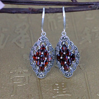 Ms 925 Sterling Silver Jewelry Thai Silver Restoring Ancient Ways White Opal Earrings Roses