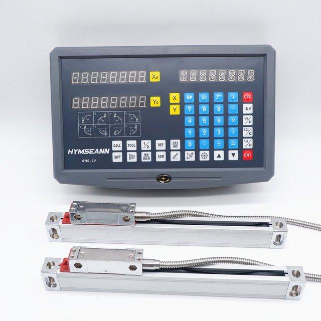 Nueva lectura Digital DRO de 2 ejes de SNS 2V pantalla AC110V/220V y 2 piezas codificador de escala lineal de 0 1000mm para máquina de torno para laminado