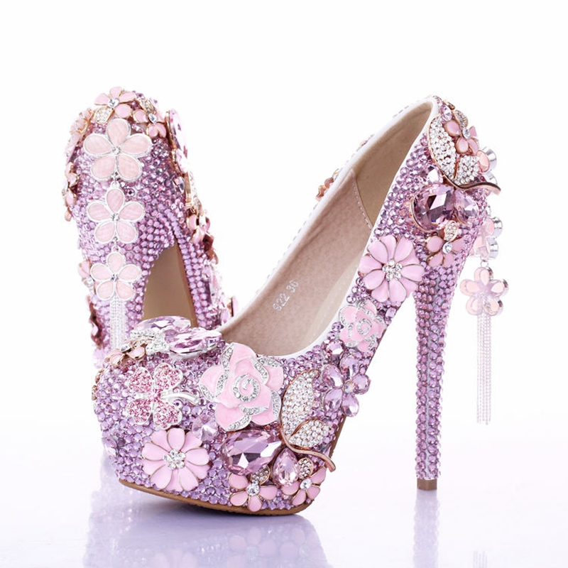 fuchsia wedding shoes pink flower rhinestones women wedding shoes 4399