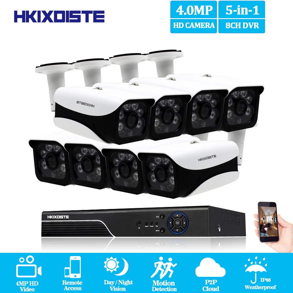 HKIXDISTE HD 4MP AHD DVR 4MP HD indoor Outdoor Home Security Camera System 8CH CCTV Video Surveillance DVR Kit AHD Camera Set 4ch ahd dvr nvr kit 4mp cctv system 3 6mm 6pcs aarray leds 4 0mp hd camera indoor outdoor p2p onvif security surveillance set
