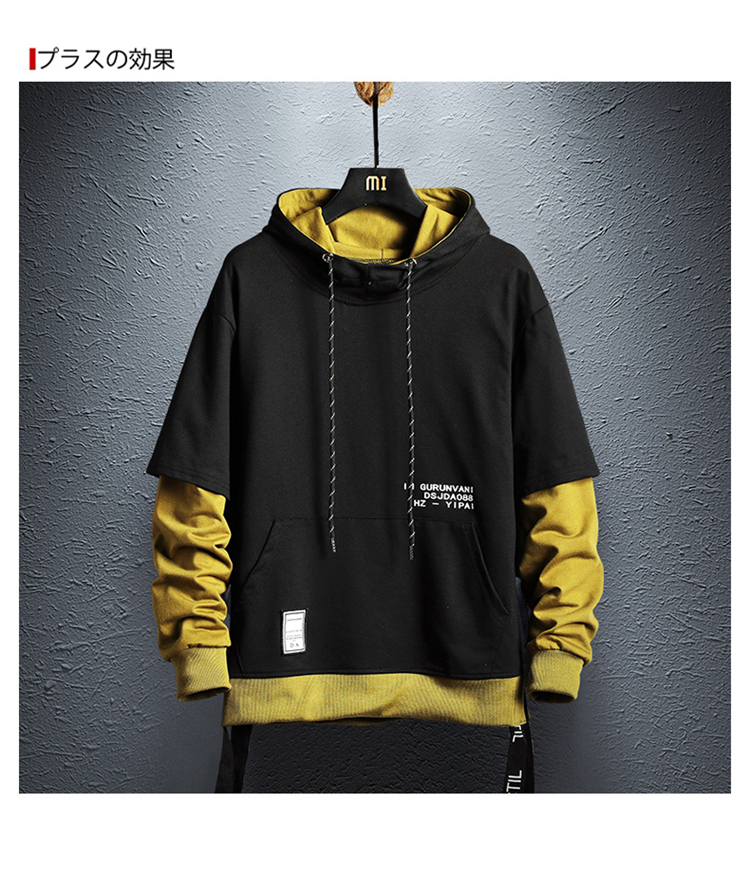 Hoodie Sweatshirt Mens Hip Hop Pullover Hoodies Streetwear Casual Fashion Clothes colorblock hoodie 17