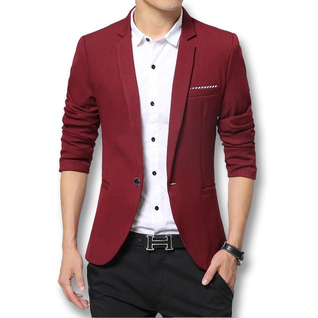 Nueva Slim Fit negocios chaqueta de algodón para hombres chaqueta chaqueta de un solo botón Casual para hombre traje de chaqueta 2016 otoño capa del resorte Suite