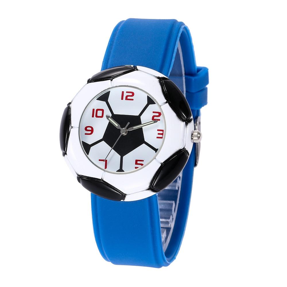 2019 Dropshipping Cute 3D Football Cartoon Children Watch For Girls Rubber Kids Watches Boys Cheap Blue Silicone Quartz WristWat