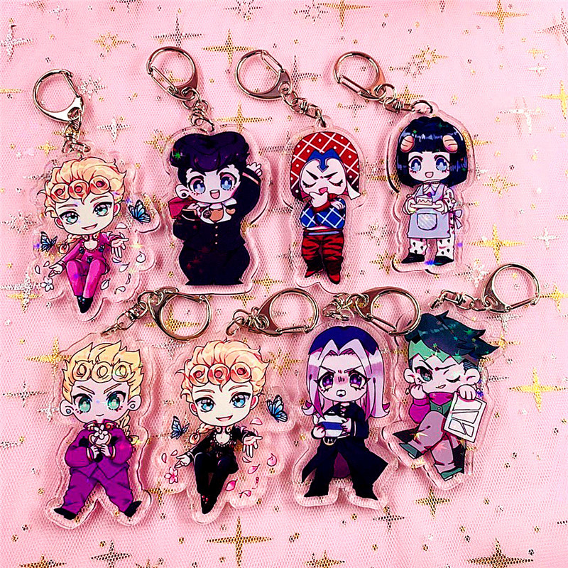 Anime Jojo Bizarre Adventure Laser Car Key Chain Holder Fashion Cartoon Jotaro Kujo Figure Keychain Keyring Jewelry Bag Pendants
