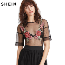 SHEIN Women Summer Black Embroidered Rose Applique Sheer Mesh Top Sexy Women's Blouses Short Sleeve Sexy Blouse