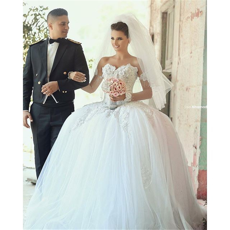 wedding gown bridal dresses pleats ball gown wedding dresses beads