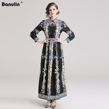 Banulin Spring Autumn Runway Maxi Dress Europe Fashion Women Long Sleeve Elegant Stand Vintage Print Casual Holiday B7587
