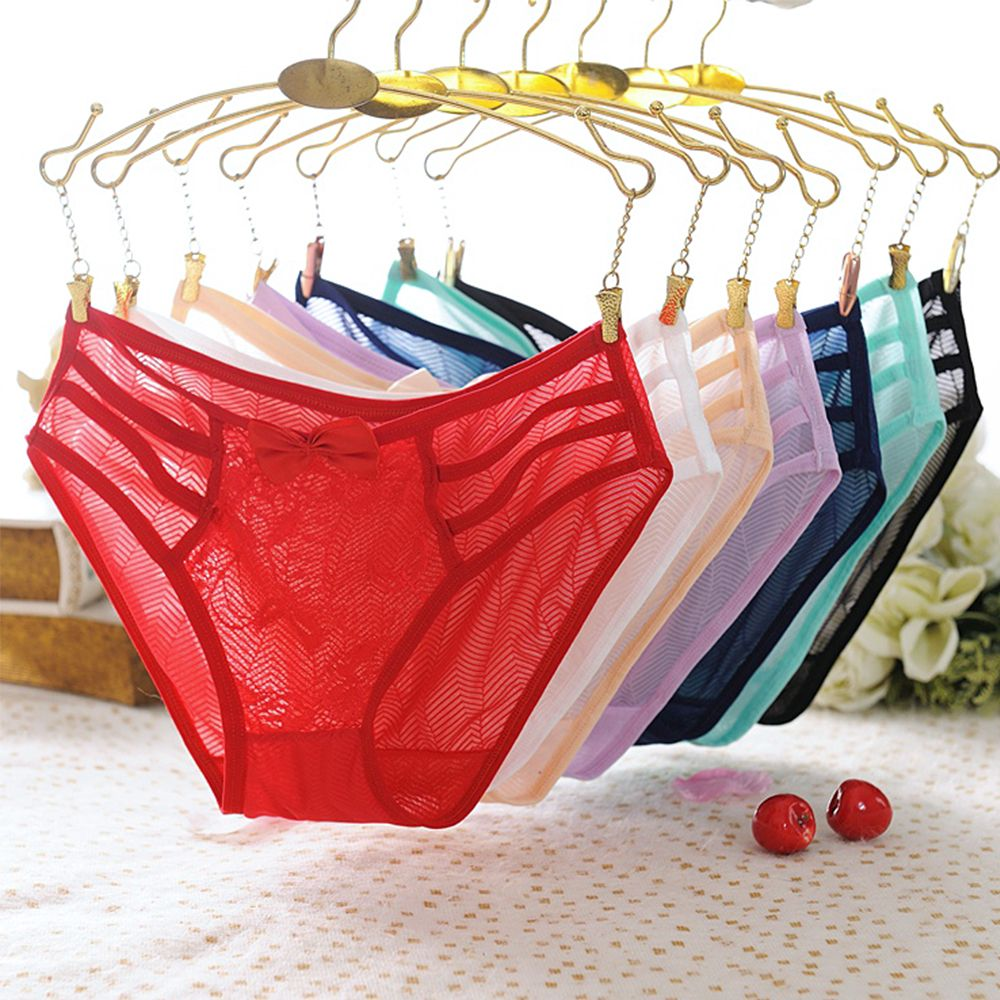 New Women Perspective Sexy Panties Transparent Panties Bow Openwork Panties Hollow Lace-up Plus Size Low Waist