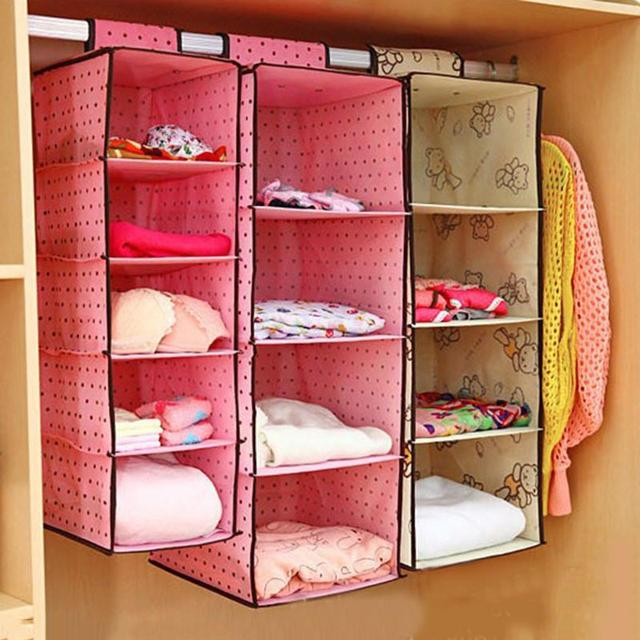Beautiful Clothes Hanging Storage Box Drawer Non Woven Fabric 4 Storey Clothes Socks  Sorting Storage Wardrobe