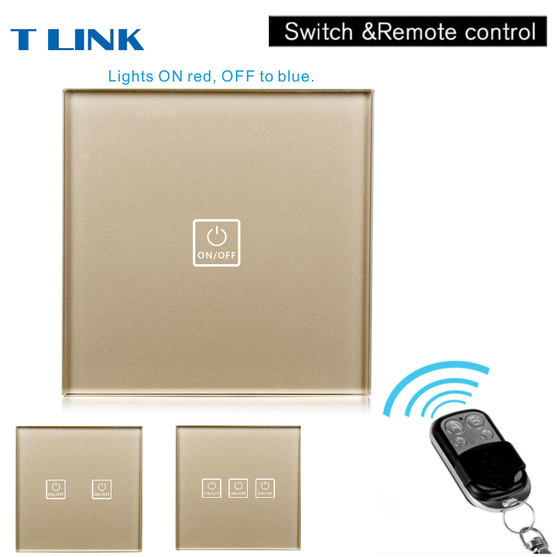 TLINK EU Standard Remote Control Switch 1 Gang 1 Way Wall Switch Wireless remote control light switch touch smart home uk standard crystal glass panel wireless remote control 1 gang 1 way wall touch switch screen light switch ac 220v