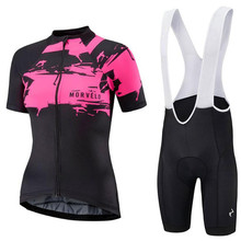 2019 Morvelo professional team set ropa ciclismo mujer women short sleeve cycling suit breathable jersey bib shorts bike clothes