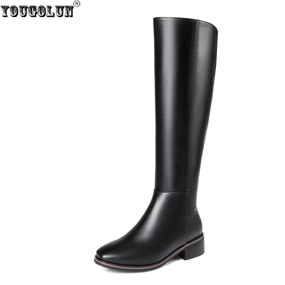 YOUGOLUN women autmn winter thigh high boots woman low heels genuine cow leather microfiber knee high boos 2018 fashion shoes yougolun woman nubuck winter over the knee snow boots 2018 women thigh high boots ladies square heels thick plush warm shoes