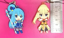 2pcs Lot Kono Subarashii Sekai Ni Shukufuku Wo Aqual Japanese Anime Rubber Mobile Phone Charms Keychain Strap G757 1