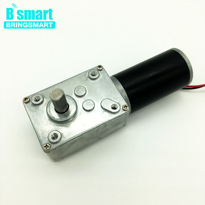 Bringsmart A58SW31ZY Worm Geared Motor DC 12V 24V DC Motor High Torque Mini Self-lock Gearbox Reversible for DIY Curtain Machine bringsmart worm gear motor high torque 70kg cm 12v dc motor mini gearbox 24v motor reversed self lock engine diy parts a58sw31zy