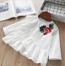 Girls white blouse school ruffles flower long sleeve cotton fashion kids shirts baby clothes korean children clothing