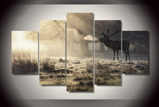 5 Panels Canvas Prints Elk In Forest Sunshine Winter