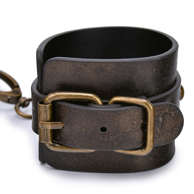 Brown Vintage Genuine Leather Handcuffs For Sex Bdsm Bondage Restraints Hand Cuffs Adult Games Sex Toys For Woman Couples 4