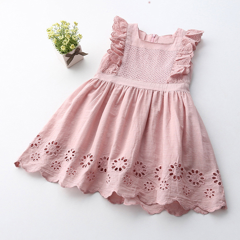 baby   girl   clothes Brand   girls   clothes 2019 New Summer kids   dresses   for   girls   Leisure Ruffles Openwork   Flowers     girls     dress