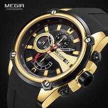 MEGIR Military Sports Quartz Watches Men Luxury Army Chronograph Wrist Watch Man Relogios Masculino Relojes 2086 Gold Black relogios relojes 8023
