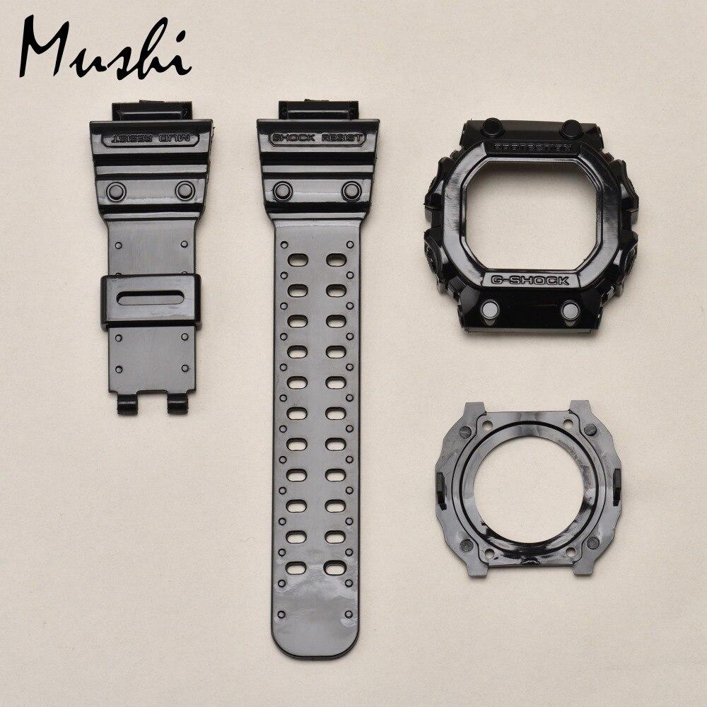 Mushi Watchbands Watch Strap Watch Case For Casio GX-56BB-1 g-shock Black Transparent Blue Yellow Red Green Watch Accessories fender fsr 2 monogrammed strap black yellow red