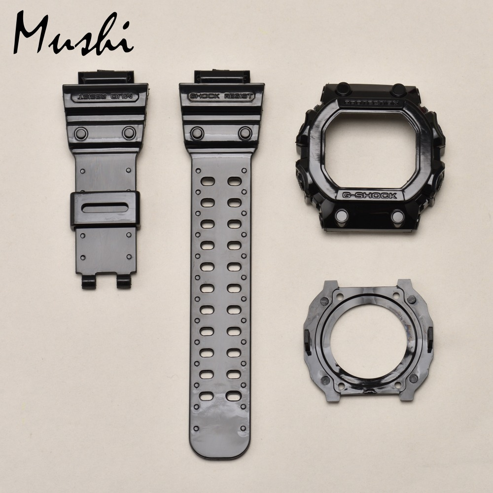 Mushi Watchbands Watch Strap Watch Case For Casio GX-56BB G-shock Black Transparent GX-56/GX56 Watch Accessories