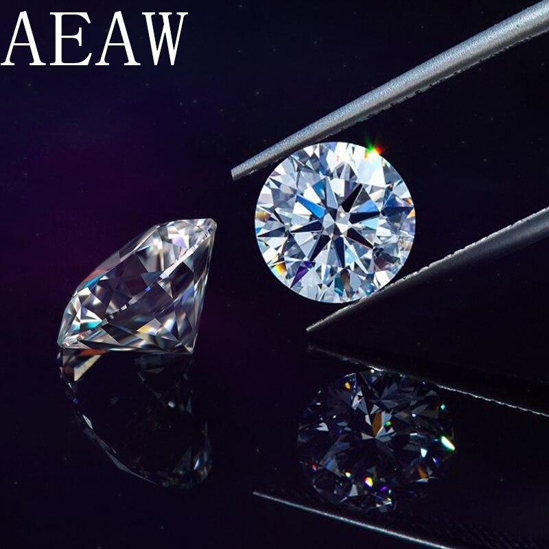 AEAW Round Brilliant Cut 0.5ct Carat 5mm D Color Moissanite Loose Stone VVS1 Excellent Cut Grade Test Positive Lab Diamond