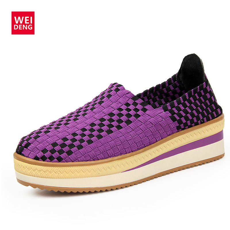 WeiDeng Summer Women Breathable Wedge Heel Platform Moccasin Women Flats Casual Slip On Resistant Handmade Fitness Woven Shoes nayiduyun women genuine leather wedge high heel pumps platform creepers round toe slip on casual shoes boots wedge sneakers