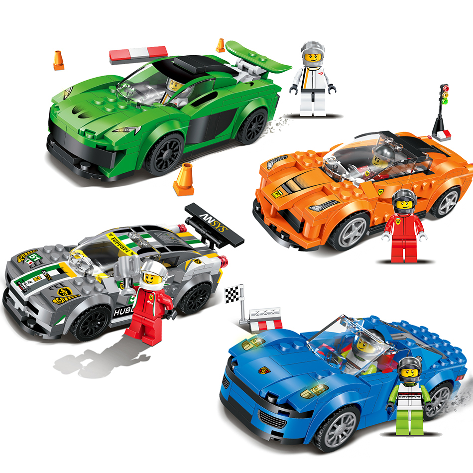 Qunlong Toys 4 Style Racing Car Building Blocks Educational Action Figures Compatible Legoe City Enlighten Bricks Toys For Kid decool 3117 city creator 3 in 1 vacation getaways model building blocks enlighten diy figure toys for children compatible legoe