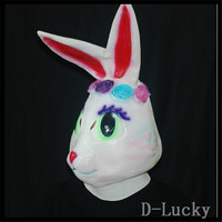 Free shipping Halloween Party Cosplay Latex Rabbit Mask Animal Bunny Mask Disguises of Rabbits Face Head Mask for Adult in stock