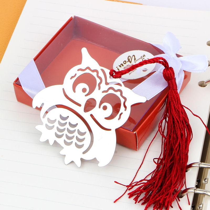 200PCS Marcapaginas Owl Book Markers Birds With Tassels Metal Bookmark Stationery For Kids Gift Baby shower wedding gift