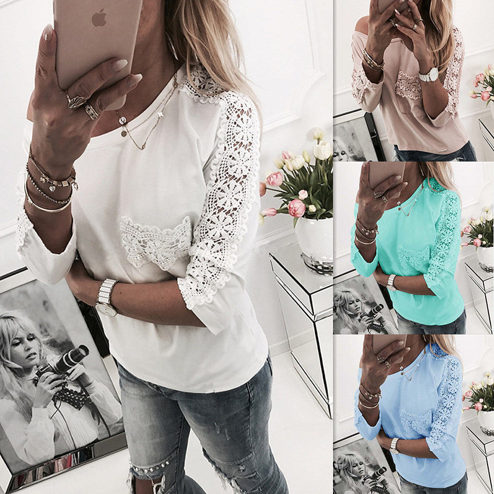 BKLD Spring 2018 T Shirts Women Long Sleeve Off The Shoulder Tops For Women Floral Embroidery Patchwork Hollow Out Women T-shirt