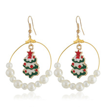 2019 Brinco Cross-border Rose New Pearl Earrings Drip Christmas Tree Circle Big Manufacturer Direct Spot spot s first christmas
