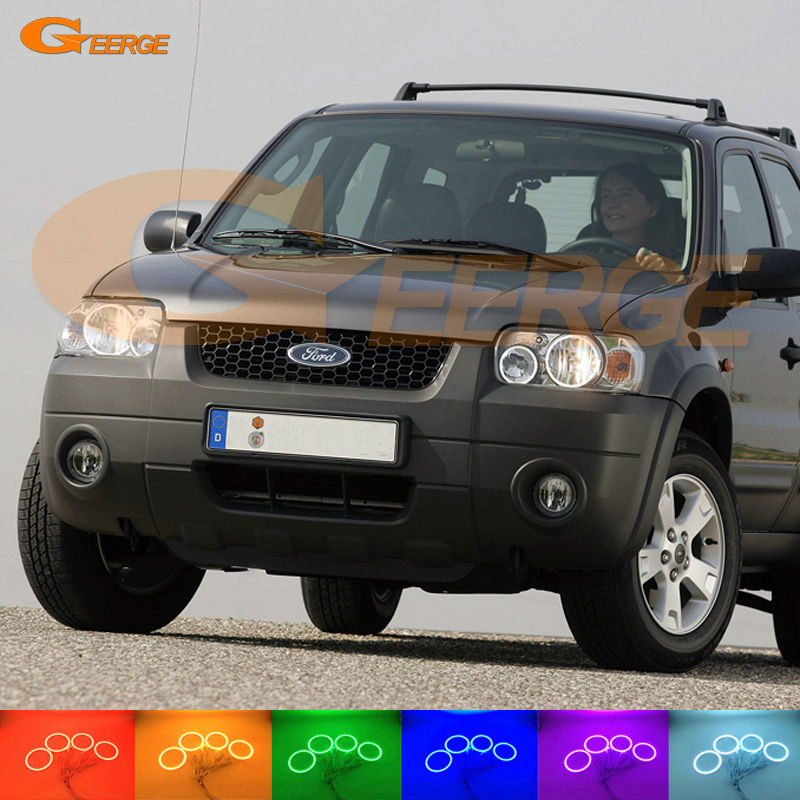 For Ford Maverick 2005 2006 2007 Excellent led Angel Eyes kit Multi-Color Ultra bright RGB LED Angel Eyes Halo Rings super bright led angel eyes for bmw x5 2000 to 2006 color shift headlight halo angel demon eyes rings kit