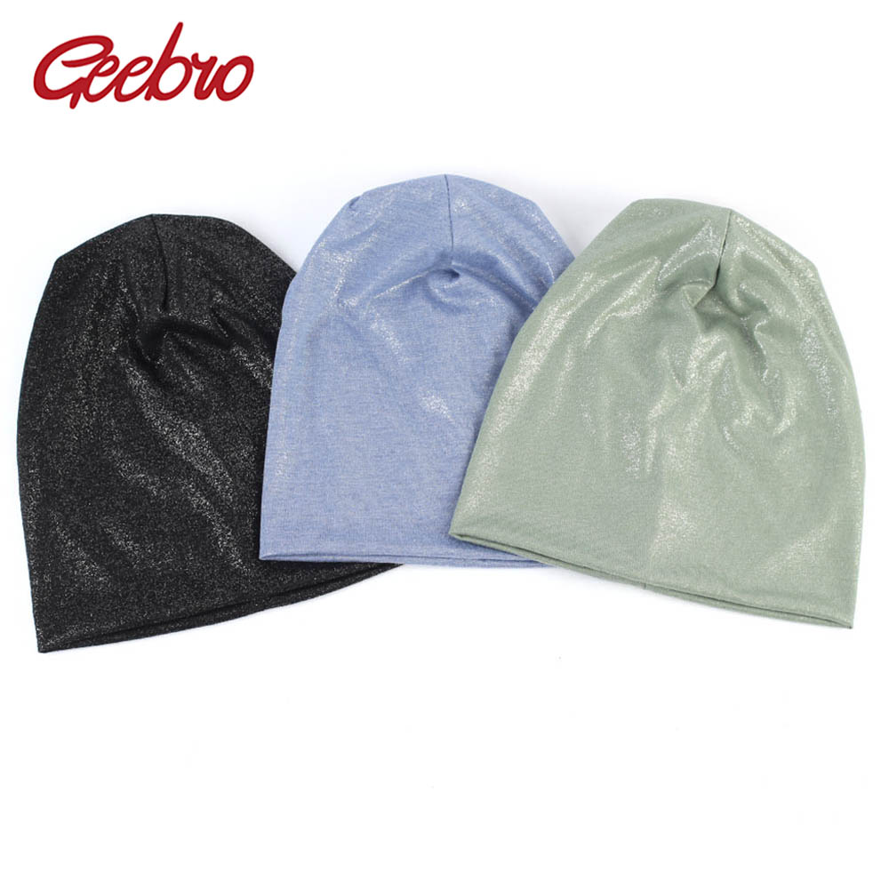 Geebro Women's Metallic Color   Beanie   Hat Spring Cotton Slouchy   Beanie   Hat for Femme Winter Plain Black   Skullies  &  Beanies   DQ901