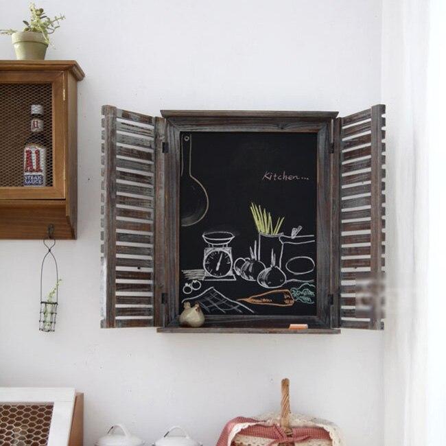 Livraison gratuite Zakka vintage bois massif mur noir stores rustiques fenêtre vierge panneau d'affichage accessoires décoration/49*40/10 cm